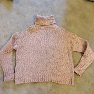 J. Crew pink wool blend marled turtle neck M